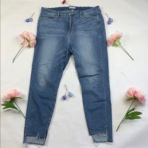 EUC Good American step hem good legs skinny jeans